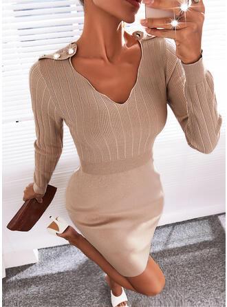 Solid Long Sleeves Elegant Dresses