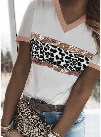 Leopard Print V-Neck Short Sleeves T-shirts