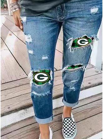 Print Plus Size Ripped Vintage Denim & Jeans