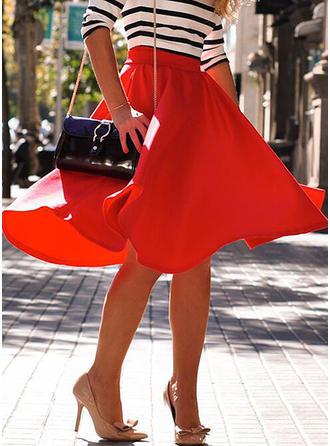 Polyester Plain Knee Length A-Line Skirts