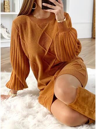 Sólido Cuello Redondo Casuales Largo Vestido de Suéter