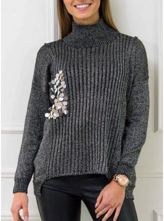 Solid Ribbed Sequins Turtleneck Casual Sweaters