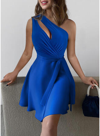 Solid Sleeveless A-line Above Knee Sexy Skater Dresses