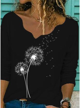 Dandelion V-Neck Long Sleeves T-shirts