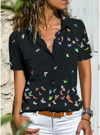 Animal Print Lapel Short Sleeves Button Up Casual Shirt Blouses