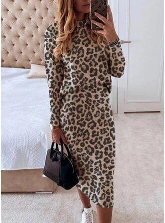 Leopard Long Sleeves Bodycon Elegant Midi Dresses