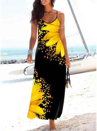 Impresión de girasol Sin mangas Cubierta Casual/Vacaciones Maxi Vestidos