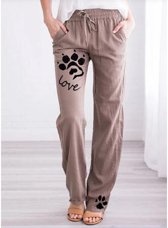 Estampado de animales Bolsillos Talla extra Largo Casual Impresión Pantalones