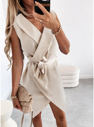 Solid Chiffon Sleeveless A-line Above Knee Elegant Wrap/Skater Dresses