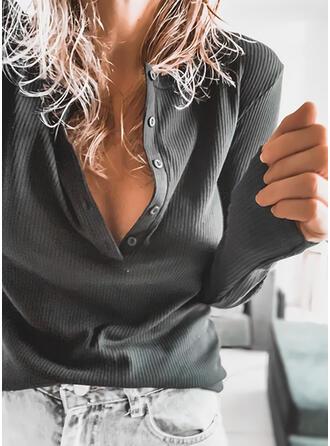 Sólido Cuello en V Manga Larga Con Botones Casual Tejido De Punto Blusas