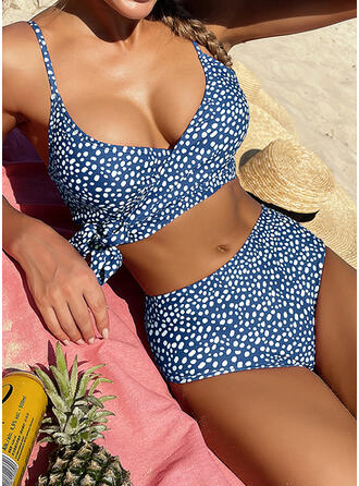 Dot Knotted Strap V-Neck Fashionable Bohemian Casual Bikinis Swimsuits