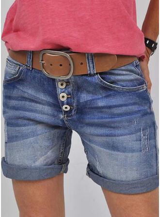 Shirred Plus Size Casual Vintage Shorts Denim & Jeans