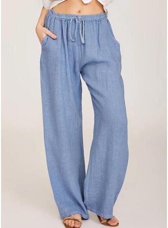 Pockets Shirred Plus Size Long Casual Long Pants