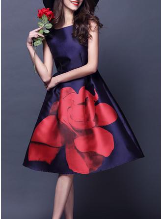 Print/Floral Sleeveless A-line Knee Length Vintage/Party/Elegant Skater Dresses