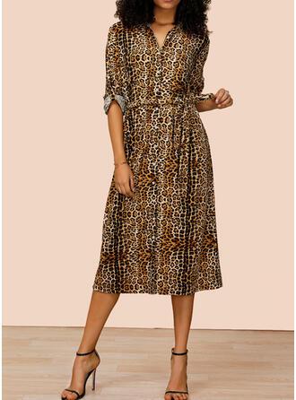 Leopard Long Sleeves A-line Shirt Casual Midi Dresses