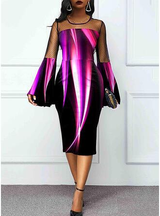 Lace/Print Long Sleeves/Flare Sleeves Bodycon Knee Length Elegant Pencil Dresses