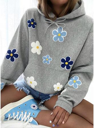 Embroidery Floral Long Sleeves Hoodie