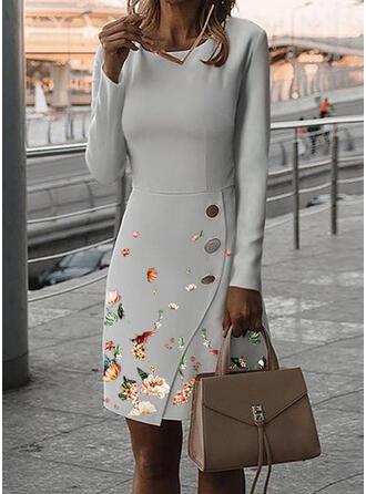 Print/Floral Long Sleeves Bodycon Knee Length Elegant Pencil Dresses