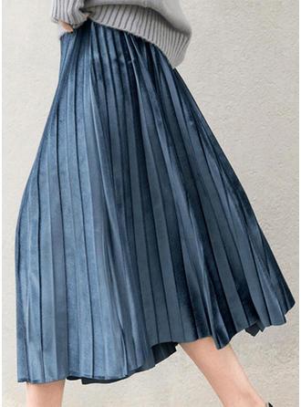 Velvet Plain Mid-Calf Pleated Skirts