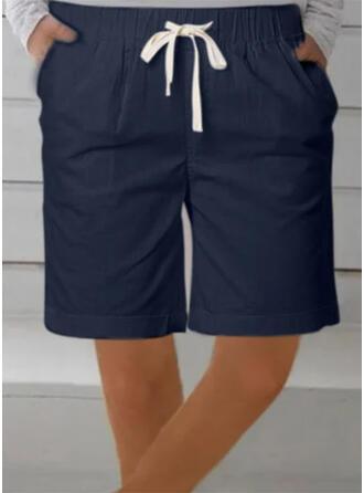 Sólido Talla extra Cordón Por encima de la rodilla Casual Deportivo Pantalones cortos