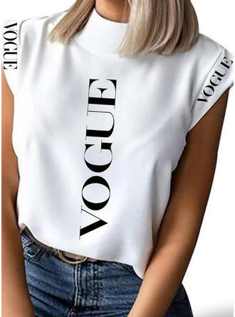 Print Letter Stand collar Cap Sleeve Casual Blouses