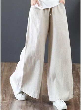 Bolsillos Fruncido Talla extra Largo Boho Casual Elegante Pantalones