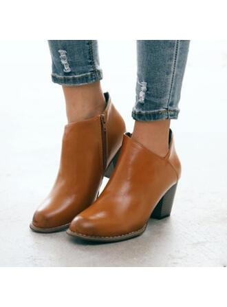 De mujer PU Tacón ancho Botas al tobillo Dedo del pie puntiagudo con Cremallera Color sólido zapatos