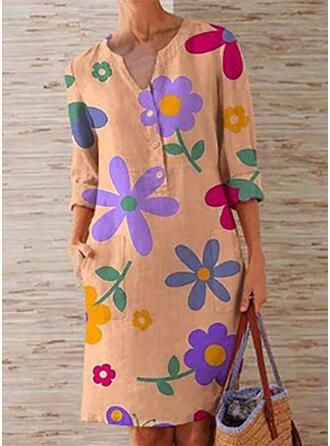 Impresión/Floral Mangas 3/4 Tendencia Hasta la Rodilla Casual Vestidos