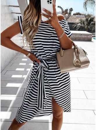 Print/Striped Short Sleeves A-line Asymmetrical Casual Skater Dresses