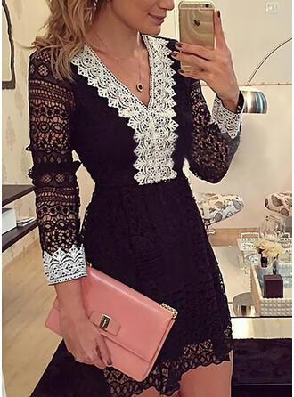 Lace Long Sleeves Sheath Above Knee Party/Elegant Dresses
