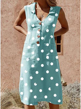 PolkaDot Sleeveless Shift Knee Length Casual/Vacation Tank Dresses