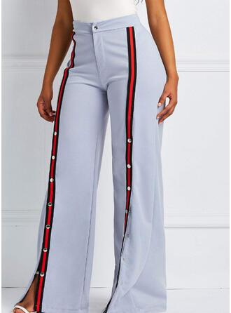 Patchwork Largo Casual Llanura Pantalones