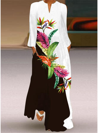 Print/Color Block Long Sleeves Shift Casual Maxi Dresses