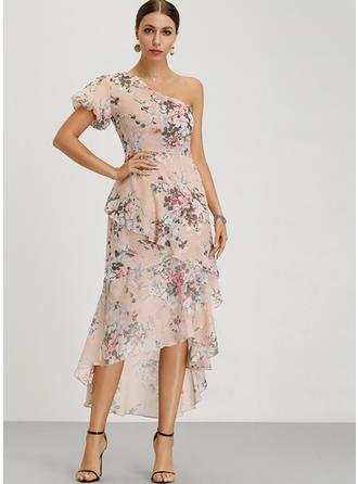 Print/Floral Short Sleeves A-line Asymmetrical Party/Elegant Dresses
