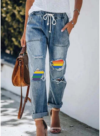 Patchwork Drawstring Casual Vintage Denim & Jeans