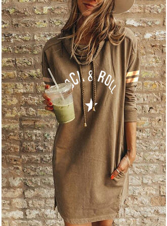 Print/Striped Long Sleeves Shift Above Knee Casual Tunic Dresses