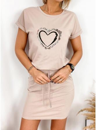 Print/Heart Short Sleeves Sheath Above Knee Casual Dresses