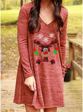 Print/Plaid Long Sleeves Shift Above Knee Christmas/Casual T-shirt Dresses