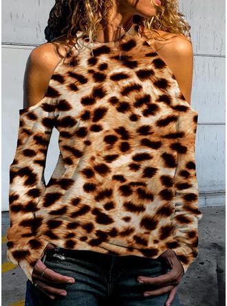 Leopard Cold Shoulder Long Sleeves T-shirts