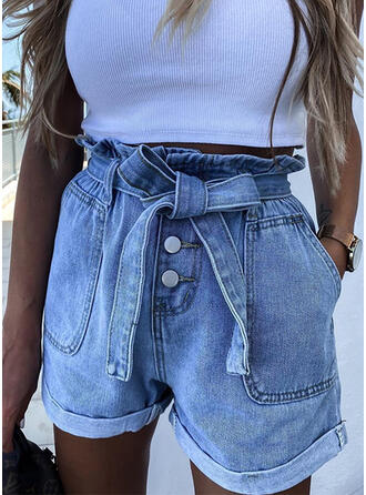 Pockets Shirred Bowknot Above Knee Casual Sexy Shorts