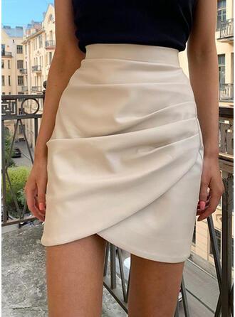 Leather/PU Plain Knee Length Pencil Skirts
