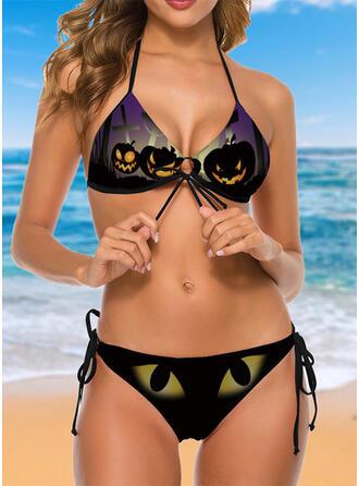 Escotado por detrás Ata para arriba Víspera de Todos los Santos Cuello en V Sin Tirantes Llamativo De la novedad Bikinis Trajes de baño