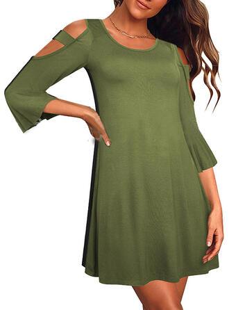 Solid 3/4 Sleeves/Cold Shoulder Sleeve Sheath Above Knee Little Black/Elegant Dresses