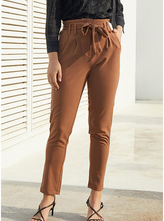 Fruncido Bowknot Largo Elegante Sexy Pantalones
