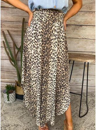 Chiffon Animal Print Mid-Calf A-Line Skirts