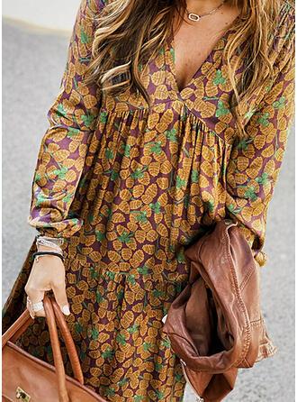 Print Long Sleeves Shift Casual Maxi Dresses