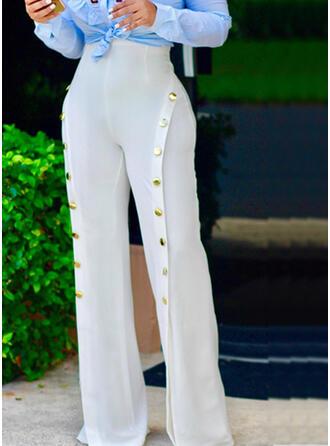 Sólido Patchwork Largo Elegante Sexy Pantalones