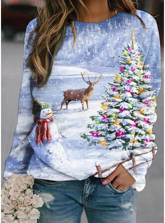Animal Print Forest Round Neck Long Sleeves Christmas Sweatshirt