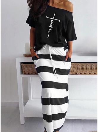 Striped Print Plus Size Casual Vintage Suits