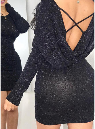 Sólido Manga Larga Ajustado Sobre la Rodilla Pequeños Negros/Sexy/Fiesta Vestidos